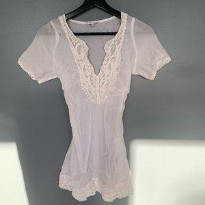 Coco & Tashi Crochet Front Blouse White Size S